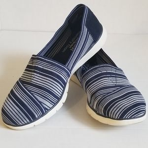 Bobs from Sketchers Blue & White Striped 8.5